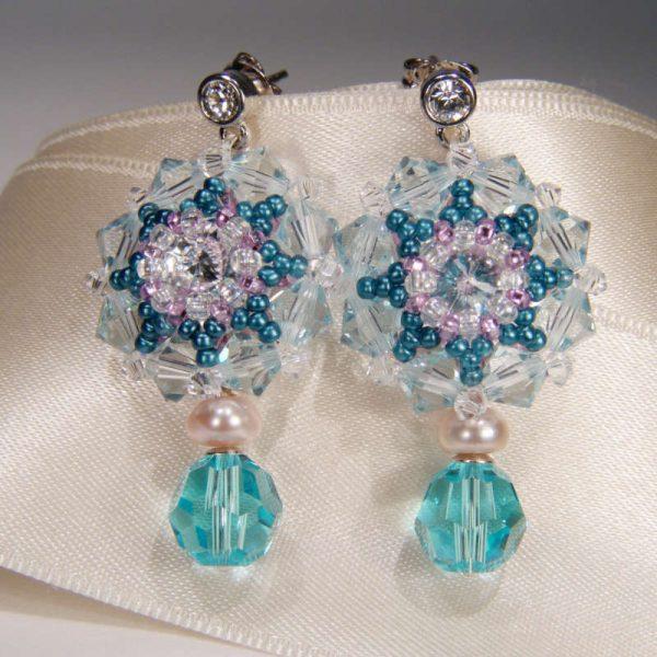 Kristall-Ohrhänger Aquamarinblau