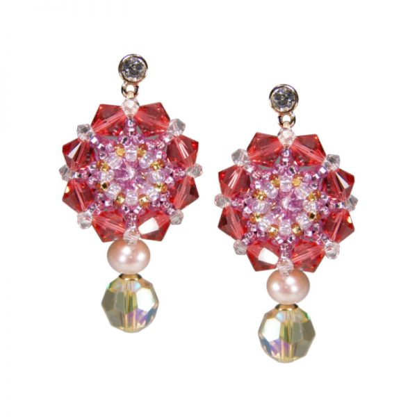 Kristall-Ohrringe Rosa-Gelb