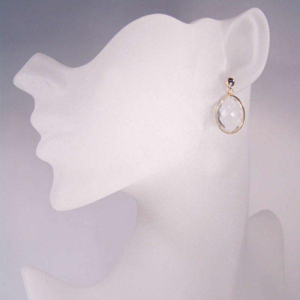 Edelsteinohrring mit Bergkristall Silber vergoldet