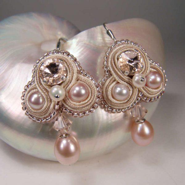 Soutache-Ohrringe Brautschmuck mit Perlen