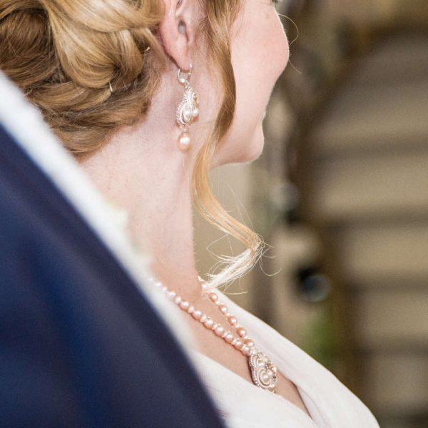 Perlenohrringe Soutache und passendes Collier als Brautschmuck