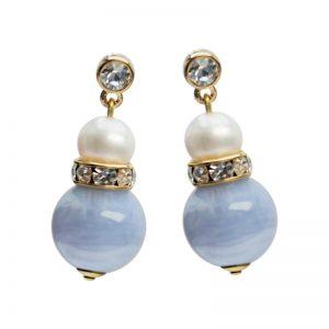 Edelsteinohrring mit hellblauem Chalzedon und weißer Perle