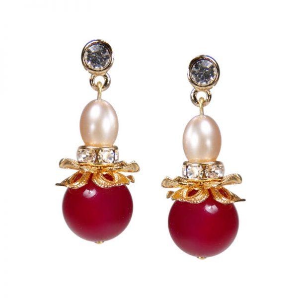 Ohrringe rote Achat Blüten