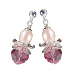 Ohrring in Blütenform mit rosa Kristall und Perle
