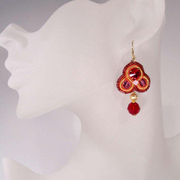 Soutache-Ohrhänger Rot-Gold