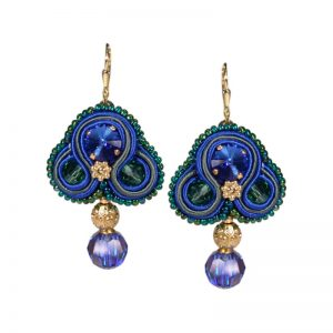 Soutache Ohrringe in Blau-Gold