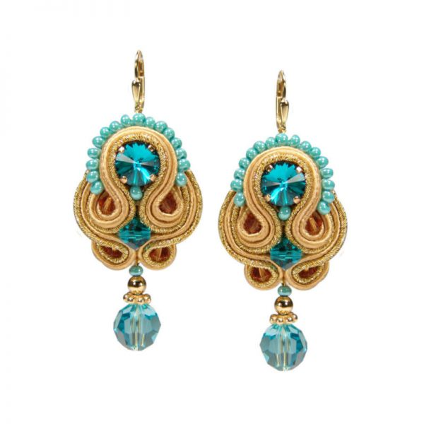 Soutache-Ohrringe Türkis-Gold
