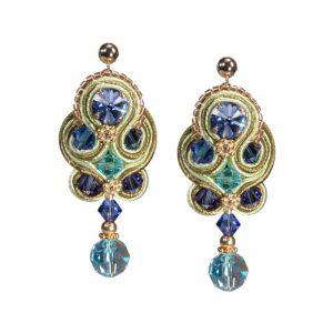 Soutache-Ohrhänger Blau-Grün