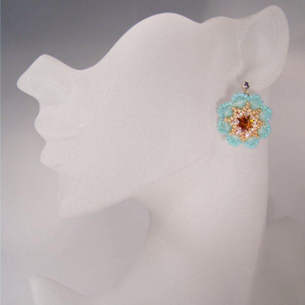 Ohrringe Rocailles-Blüten in Türkis