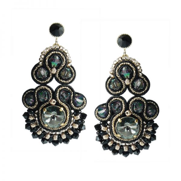 Soutache-Ohrringe in Schwarz-Gold - auch mit Clips