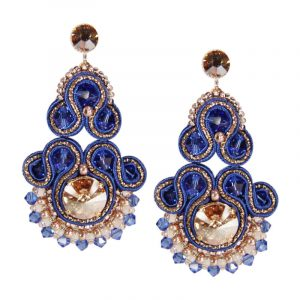 Soutache-Ohrringe in Blau-Gold | Perlotte Schmuck