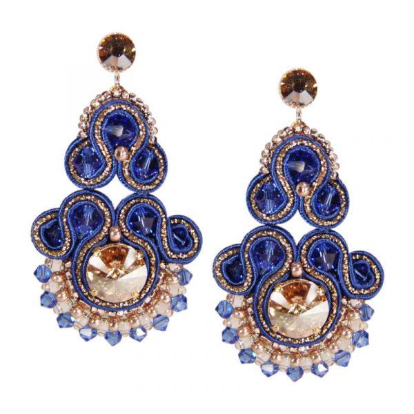 Soutache-Ohrringe in Blau-Gold | Perlotte Schmuck