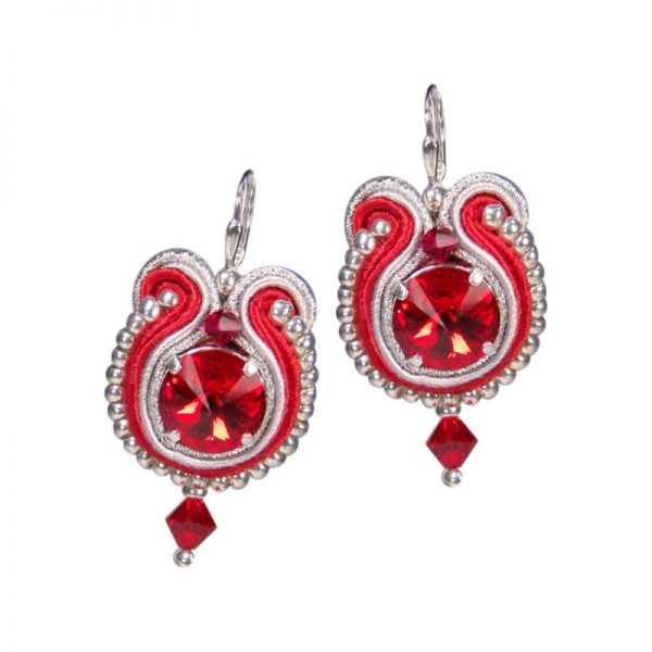Soutache-Ohrringe in Rot-Silber