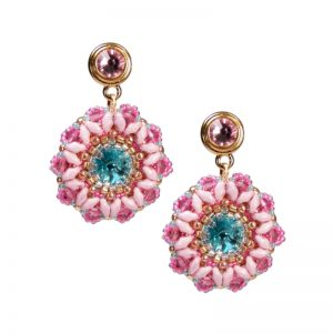 Ohrring Rocailles-Blume Rosa Türkis