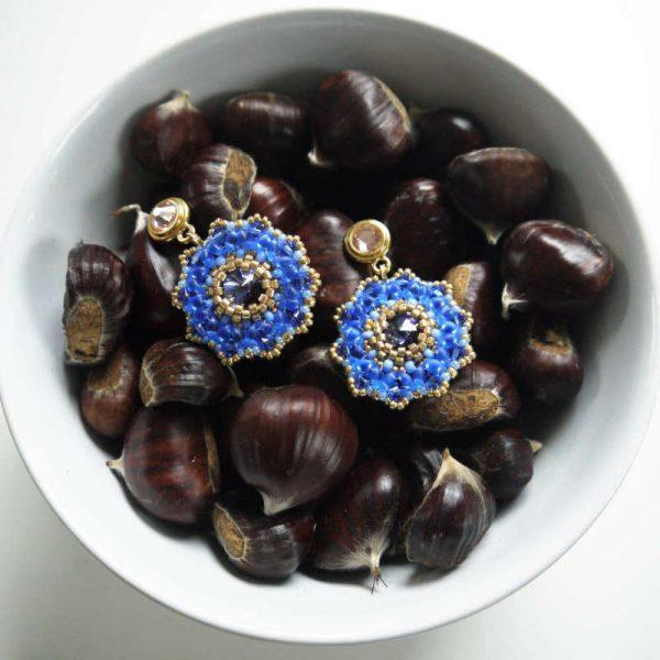 Ohrring Große Rocailles-Blume in Blau