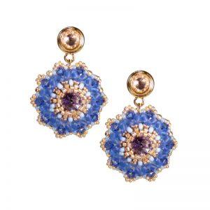 begrenzter Preis Sonderpreis für Heiß-Verkauf am neuesten Statement-Ohrhänger mit Rocailles-Kugel in Silber-Rot-Blau