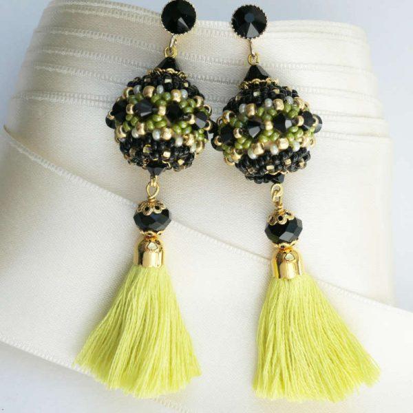 Rocailles-Ohrringe mit Quaste in Gelb-Schwarz