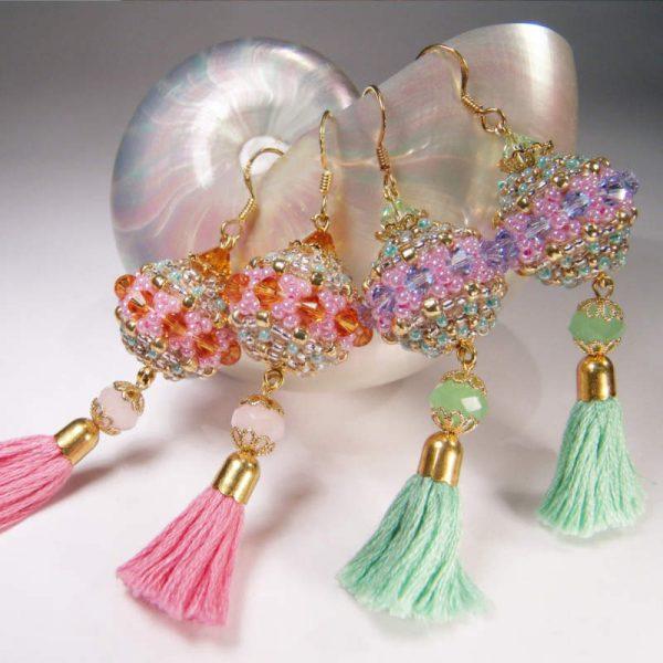 Rocailles-Ohrhänger mit Quaste - Farbvarianten