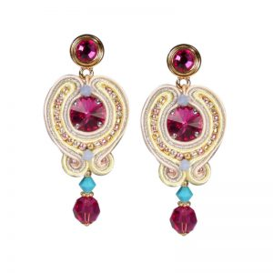 Soutache-Ohrringe in Fuchsia-Gelb