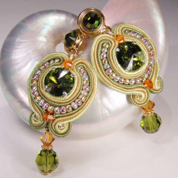 Ohrhänger Soutache-Traum Olivgrün