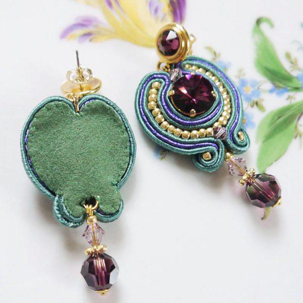 Ohrhänger Soutache-Traum Violett, Grün und Gold