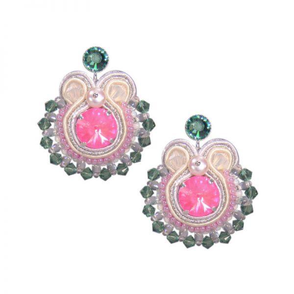 Runder Soutache-Ohrring in Pink und Grün - auch mit Clips