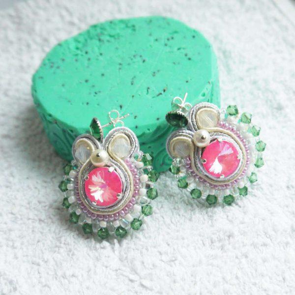 Runde Soutache-Ohrringe Pink und Grün