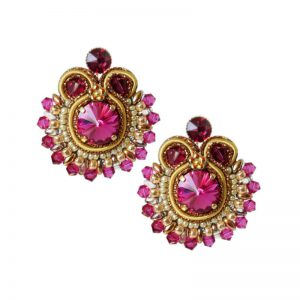 Soutache-Ohrringe in Fuchsia-Gold