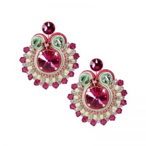 Soutache-Ohrringe in Fuchsia-Grün