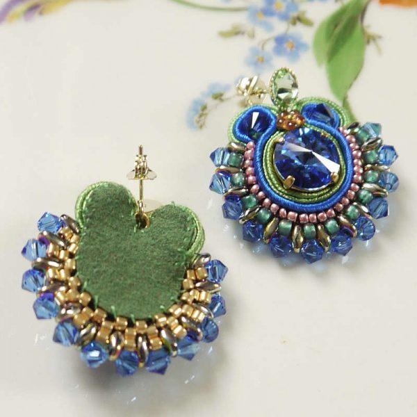 Runde Soutache-Ohrringe Blau und Grün