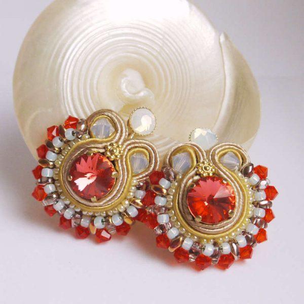 Runde Soutache-Ohrringe Orange und Gold