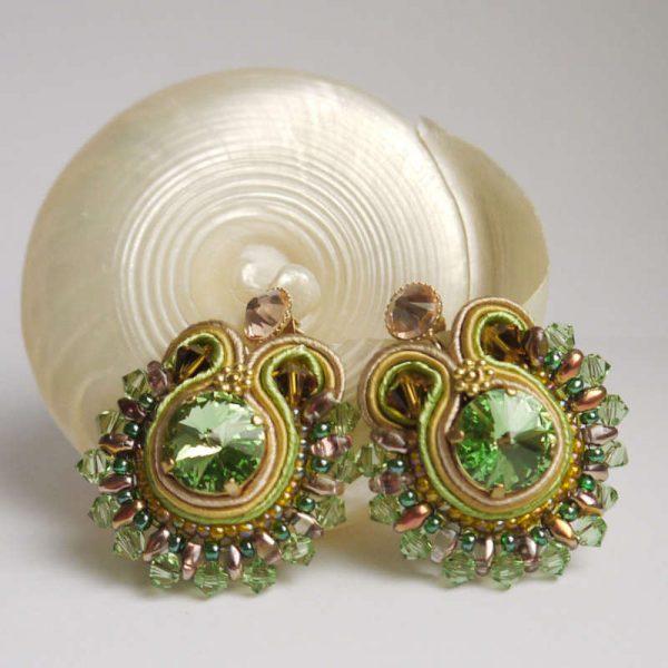 Runde Soutache Ohrringe Grün