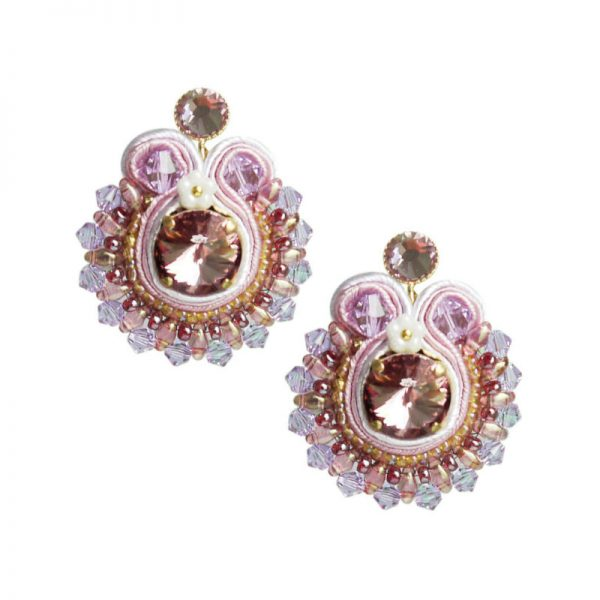 Runde Soutache-Ohrringe in Violett-Rosa