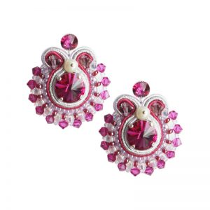Soutache Ohrringe in Fuchsia-Silber