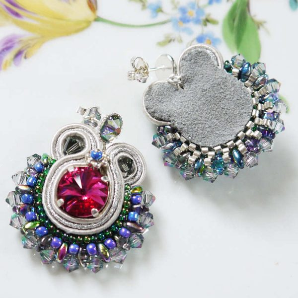 Runde Soutache-Ohrringe Silber-Bunt