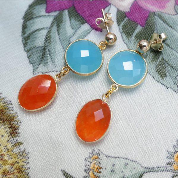 Bunte Edelsteinohrringe in tuerkis und orange