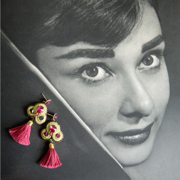Quasten-Ohrringe mit Soutache in Fuchsia