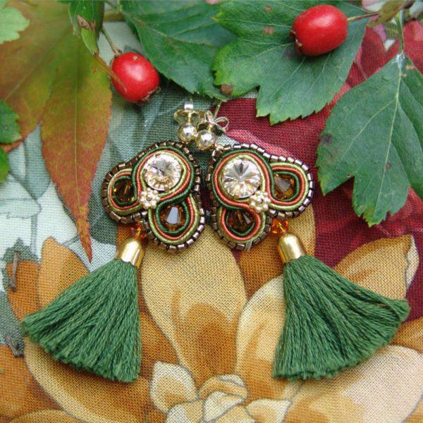 Quasten-Ohrringe in Grün