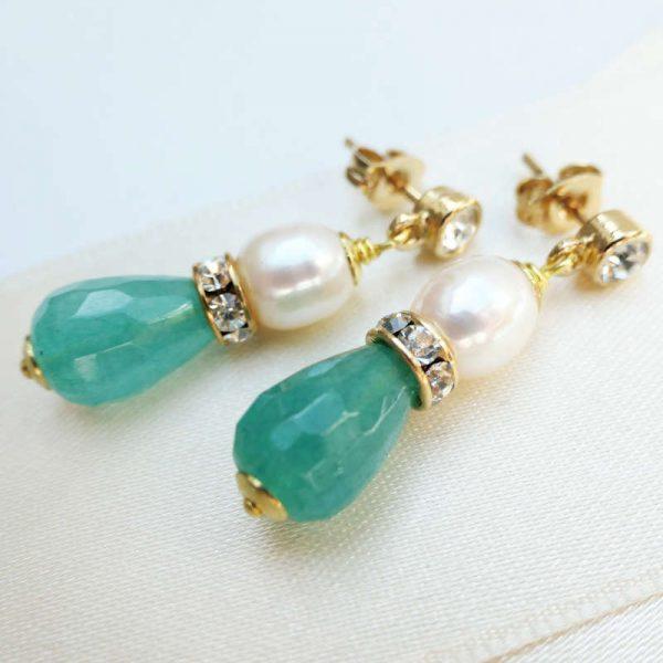 Ohrringe mit Perlen und Amazonit