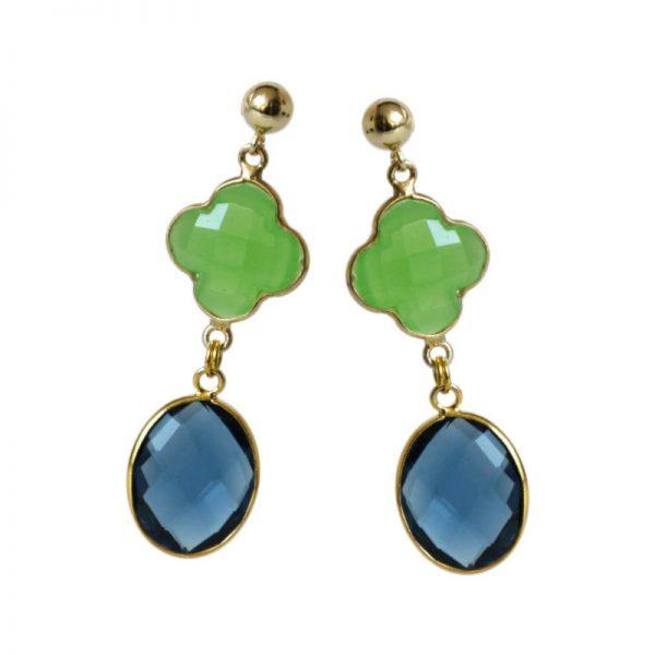 Blau-grüne Edelsteinohrringe