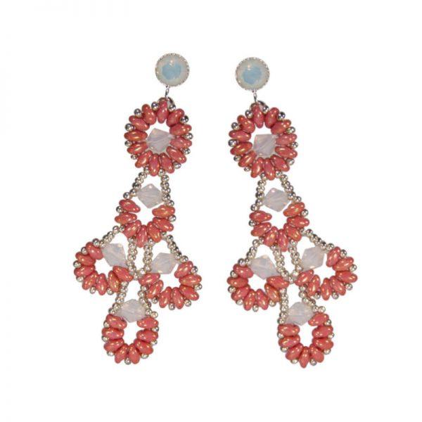 Statement-Ohrring mit Rocailles in Korall-Weiß