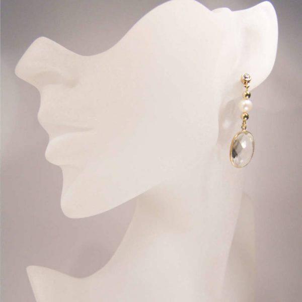 Bergkristall-Ohrringe mit Perle