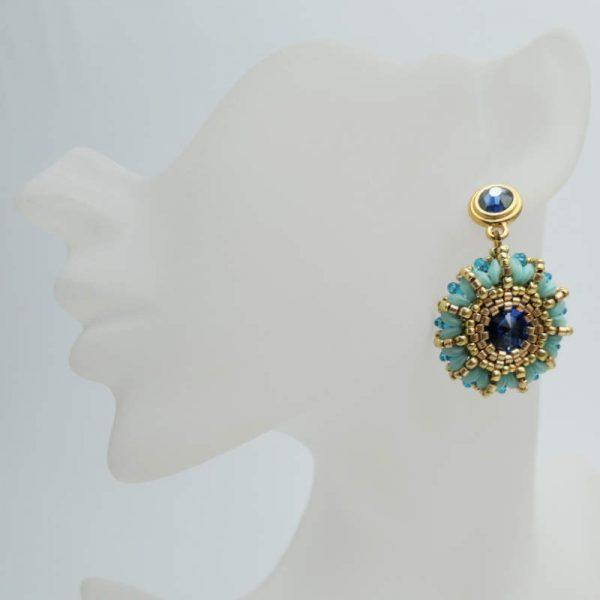 "Rocailles Ohrringe ""Bollywood"" in Türkis und Blau"