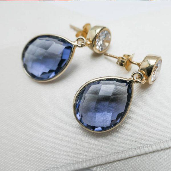Edelstein-Ohrhänger in Tansanit-Blau