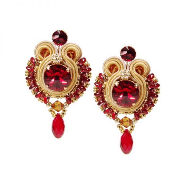 Soutache-Ohrringe mit rotem Kristall-Tropfen