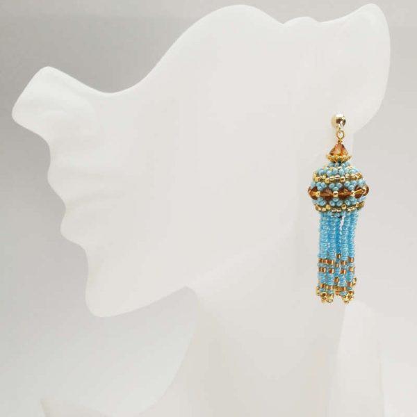 Ohrringe mit Perlenquasten in Hellblau-Gold
