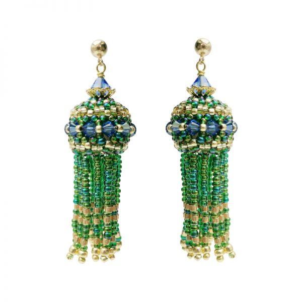 Ohrringe mit Perlenquasten in Gruen-Gold