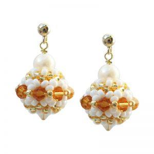Ohrringe kleine Rocailleskugeln in Gold-Weiß