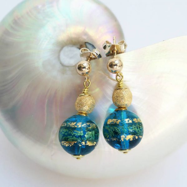 Ohrringe mit Muranoglas-Perle in Türkis-Gold