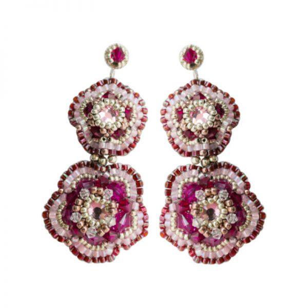 Statement-Ohrringe in Blütenform in Fuchsia Rosa